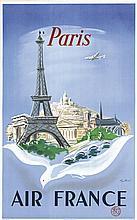 MANSET REGIS, Air France Paris 1952 Affiches Gailllard Paris, Affiche entoi