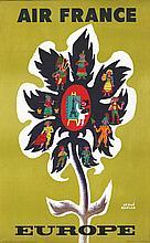 MORVAN HERVE, Air France Europe 1956 De La Vasselais Paris, Affiche Entoilé