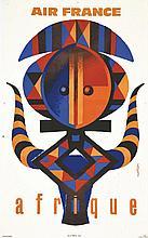 NATHAN, Afrique - Air France 1960 Courbet Paris, 1 Affiche Non-Entoilée / P