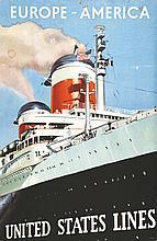 DELFO Y., Europe America United States Lines vers 1950 Carton publicitaire