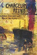 Compagnie des Chargeurs Reunis Huile sur Toile vers 1930, Ligne du Tour du