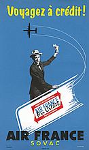 COUTRATEL J., Air France Sovac - Voyagez à crédit 1956 Trapinex, Affiche En