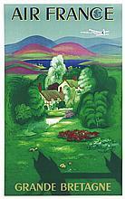 BOUCHER LUCIEN, Air France Grande Bretagne 1951 Perceval Paris, Affiche ent