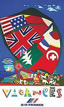 BEZOMBES ROGER, Vacances - Air France 1980 Mourlot Paris, 1 Affiche Non-Ent
