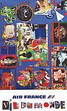 BEZOMBES ROGER, Vie du Monde - Air France 1981 Déchaux Paris, 1 Affiche Non