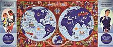 BOUCHER LUCIEN, Planisphère vers 1950 Perceval & Draeger Paris, Affiche ent