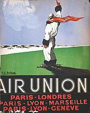 BELLAIGUE J.C., Air Union Paris Londres Marseilles très rare vers 1930 Cart
