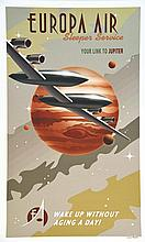 THOMAS STEVEN, Europa Air Sleepe Jupiter affiche signée par Steve Thomas ve