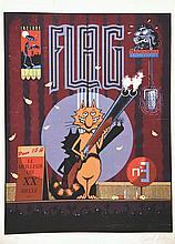 Flag Trimestriel Lithographie signée Hubert Fulton . vers 1980 .