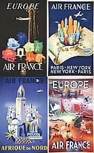 Lot de 4 aff : New York - Europe (2) - Afrique du Nord . 1948 - 1949 - 1950 .