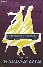 Voyagez en Wagons Lits . vers 1950 . Aljanvic   Paris
