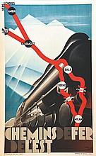 Chemins de Fer de l' Est . 1929 . C. Courtois   Paris