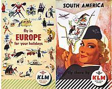 Lot de 2 KLM : Europe - South America . vers 1950 .