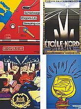 Lot de 63 Affiches sur Les Wagons lits & autres . vers 1980 .