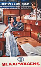 Slaapwagens - Confort op het spoor - Slaapwagens . vers 1950 . Hubert Baille   Paris