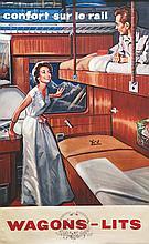 Wagonts Lits - Confort sur le Rail . vers 1950 . Hubert Baille   Paris