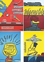 Wagons Lits lot de 4 Affiches . 1987 & 1988 &1990 . Graficaza & Michel Caza   Paris