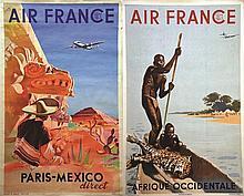 Lot de 2 Air France : Mexico & Afrique . vers 1950 .