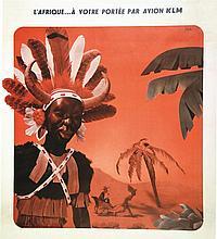 L'Afrique..à vôtre portée par Avion KLM . vers 1950 .
