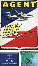 Lot de Plaques Emaillées & tooles Peintes  KLM TAI & calendriers . vers 1950 .