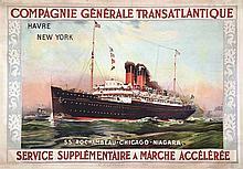 Rochambeau - Havre New York . vers 1900 . Sté Gle d'impression   Paris