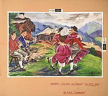 Costume de Chablais Gouache signée Charles Homualk . vers 1930 .