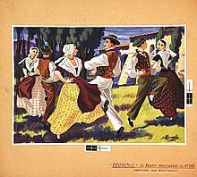 Le Brandi Montagnard du Haut Var Gouache signée Charles Homualk . vers 1930 . Costume des Bast