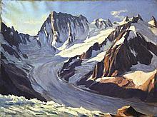 Les Grandes Jorasses:  Vue du Couvercle - Mont Blanc signée Boulanger . Vers 1930 .