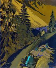 Chamonix Jeux Olympiques 1924 Gouache signée et datée 1923 Roger Broders projet non retenu . 1923