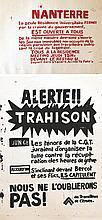 Lot de 2 Aff: Mai 1968 Citroën : Nous ne l'oublierons pas! Des Travailleurs de Citroën / Nanterre     1968