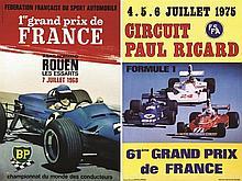 PHOTOS: FORMULA / MARTIN-DONDOZ BERNARD  Lot de 2 Affiches Grand Prix de France 1968 - 1975     1968 & 1975