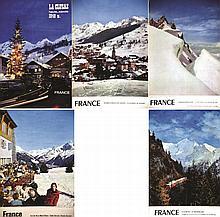 PHOTO : FUMEX & SERRAILLIER & NOURRY  Lot de 5 Aff : St Gervais - Aiguille du Midi - La Clusaz - Col de Voza - La Clusaz     1957 & 1958 & 1962