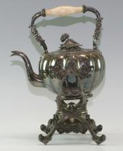 Silver Plated Teapot on a Heating Stand