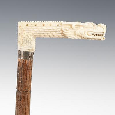 Carved Ivory Dragon Handle Walking Stick