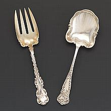 "Combined Whiting Mfg. Co. and J.B. & S.M. Knowles Sterling Silver Gold Washed Serving Salad Set, ""Louis XV"" Pattern, ca. Late 19th Century"