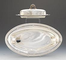 "Reed & Barton Sterling Silver Covered Butter Dish, ""Frances I"" Pattern and Webster Co. Sterling Silver Bread Dish"