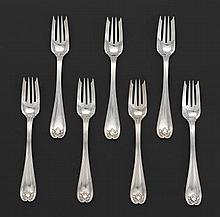 "Seven Tiffany & Co. Sterling Silver Forks, ""Colonial"" Pattern."