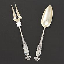 "George W. Shiebler & Co. Sterling Silver and Gold Wash Salad Serving Set, ""Knight"" Pattern, New York, ca. 1890"