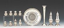 Group of Sterling Silver Table Articles Including Ten Salt/Pepper Shakers, Bud Vase and Bowl