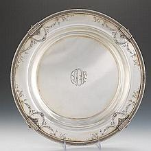 "Redlich & Co. Large Sterling Silver Salver, ""Grecian"" Pattern, Retailed by Grogan Company"