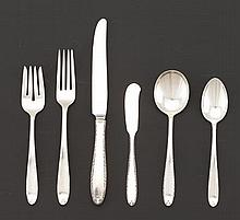 """Alvin Sterling Silver Flatware Dinner Service for Eight, """"Southern Charm"""", With a Marchall-White Co. Chicago Bakelite Silver Chest"""