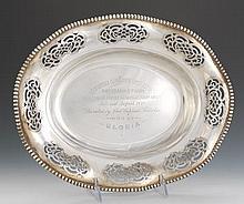Alvin Sterling Silver Presentation Platter, dated 1898