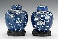 Chinese Pair of Porcelain Blue and White Blooming Prunus Lidded Ginger Jars on Carved Wood Stand, Qing Dynasty
