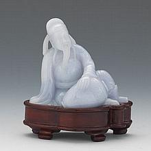 Chinese Lavender Jade Carving of a Sage