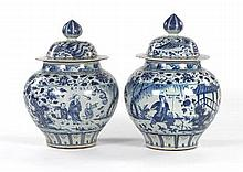 Pair of Chinese Blue and White Porcelain Lidded Jars