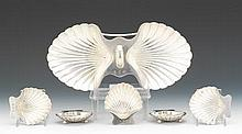 Tiffany & Co. Sterling Silver Double Nut Dish and Five Individual Nut Dishes, ca. Early 20th Century