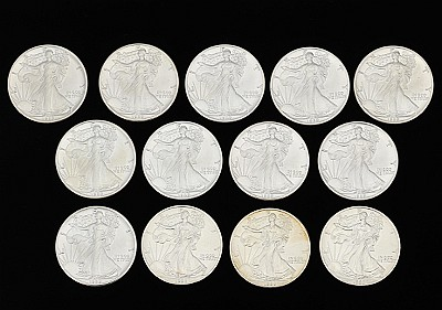 Thirteen Walking Liberty Silver Dollar Coins, 1989 & 1998