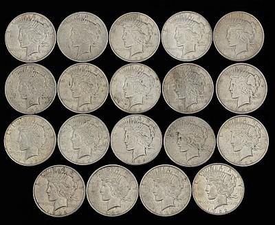 Nineteen Peace Silver Dollars, 1922