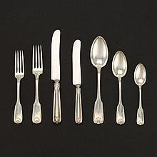 "Towle Sterling Silver Flatware Dinner Service for Twelve, ""Ben Franklin"" Pattern, in Custom Made Presentation Case with Original Key for J.E. Caldwell & Co., Philadelphia, ca. Early 20th Century"