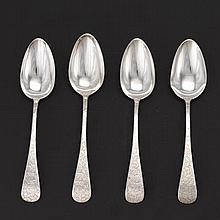 George W. Shiebler & Co. Sterling Silver, 4 Serving Spoons, Retailed by Theodore B. Starr, ca. Early 20th Century